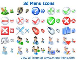 3d Menu Icons by Ikonod
