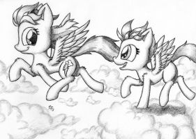 Strutting and Scooting Through The Sky by Punk-Pegasus