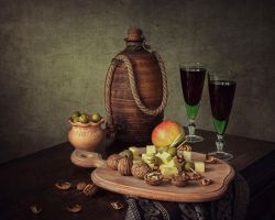 Still life with some house wine by Daykiney