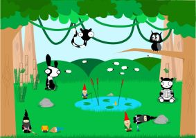 Panda's in the woods by lilleypants