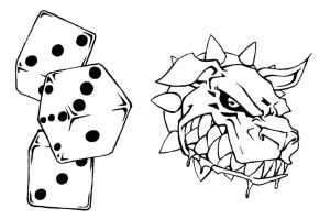 Tattoo Flash 3 Dice and Dog by BiggCaZ