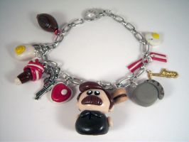 Ron Swanson Charm bracelet by sweet-geek