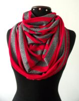 Infinity Cotton Jersey Scarf in Red and Grey Strip by LiliaVanini
