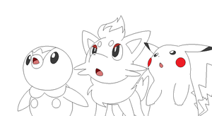 pokemon group lineart6 by michy123