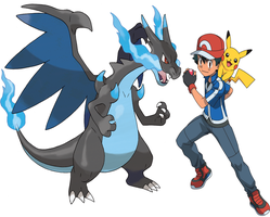 Ash And His Mega Charizard - X by Frie-Ice