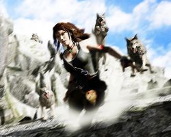 Lara vs Wolf pack by luciferFlash