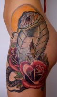snake roses leg by tattooneos