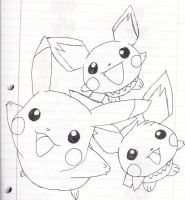 Pikachu, Pichu, and Pichu by Sanic-t-hedgehog