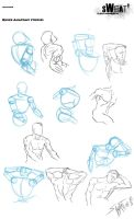 Sweat#6 Quick Anatomy Studies by DracowormArt