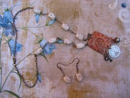 Steampunk Necklace with Textured Copper Pendant Vi by bcainspirations
