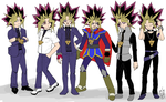 The Various Outfits of Yami Yugi/Atem Pt. I by dm17fox