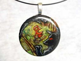 Red Riding Hood Wolf Pendant by sobeyondthis