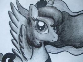 Princess Luna in pencil by JellieLucy