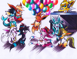 Eeveelution Party by TenmaRKO