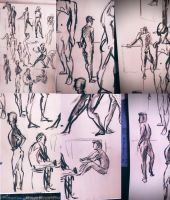 30 sec poses male life drawing by Hillary-CW