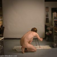 Crouching male nude by Felixdeon