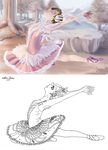 Swan ballerina painting with lineart Stock by LariaReve