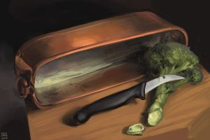Still life with copper pot, knife and broccoli by tigr3ss