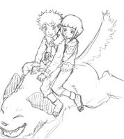 Kiba and Hinata by kittychasesquirrels