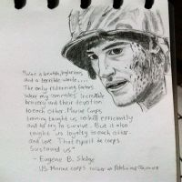 Photo of my sketch of Eugene Sledge by DeoKristady