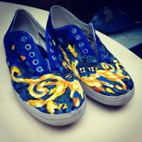 Doctor Who Exploding Tardis Custom Painted Shoes by chloebdesigns