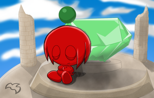 Knuckles Chao On Angel Island by metal-over-lord