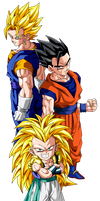 Gotenks, Gohan, and Vegetto by BoScha196
