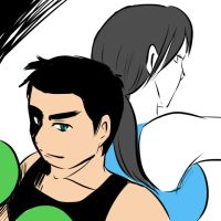 Little Mac and Wii Fit Trainer by amito