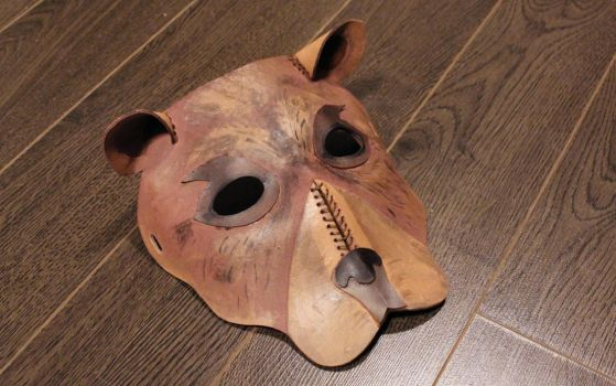 Hand-Painted Leather Bear Mask by SerenFey