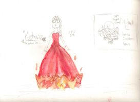 Katniss Everdeen THG, Partly WaterColoured by lizzy905