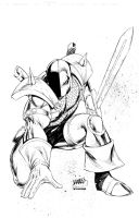 Deathstroke print Black and White by adelsocorona