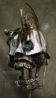 Steampunk art skull sculpture by Sculptured