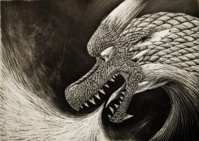 AP- Scratchboard Dragon by The-Hybrid-Mobian