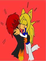 Flamez and Roze kiss colored by AlexRozeHedgehog