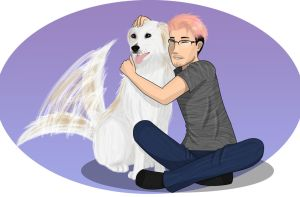 Markiplier and his new dog Chica by Kira-Mint-Tsuneo