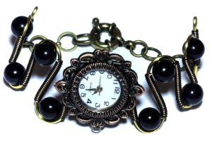 Steampunk Neo Victorian Black Watch Bracelet by CatherinetteRings