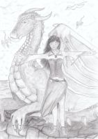 Dragon and magic girl by brittanyandalvin