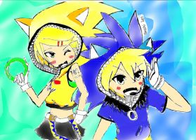 Vocaloid:Rin and Len Kagamine Sonic version by NekoRin99