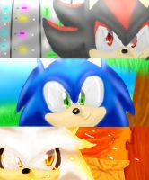 Sonic, Shadow, Silver - We're a Team by JustASonicFan