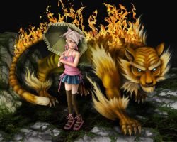 Flaming Tiger and girl by BSylphir