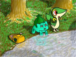 Snivy and Bulbasaur looking for people by DrTau