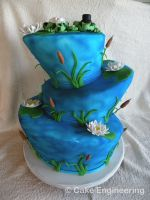 Topsy Turvy Frog Wedding cake by cake-engineering