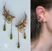 Copper ear pins May showers by JuliaKotreJewelry