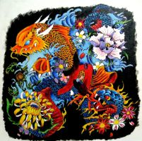 Koi-Dragon and Snake painting by CrazedShitakes