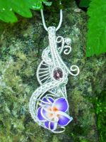Wire wrapped plumeria flower pendant by Toowired
