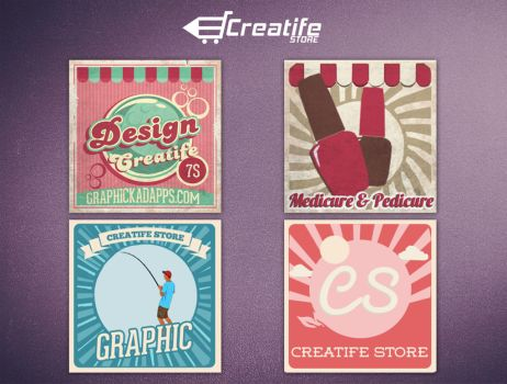 4 retro Vintage Banner Download link by kadayoub