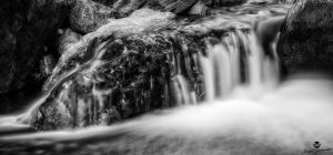 Flowing Off the Rock BW by mjohanson