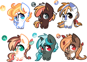 Group Ponies Adoptables (2left) by xWhiteDreamsx