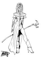 Female Mage - Lineart by Feugan-666