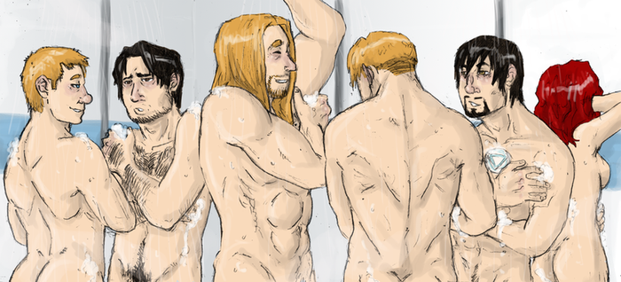 AVENGERS : hit the showers by LadyNorthstar
